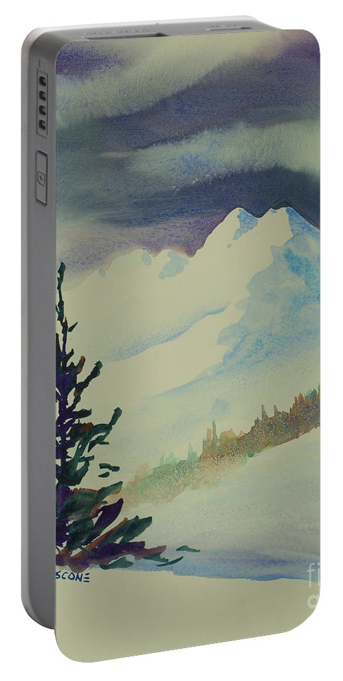 Sky Portable Battery Charger featuring the painting Sky Shadows And Spruce by Teresa Ascone