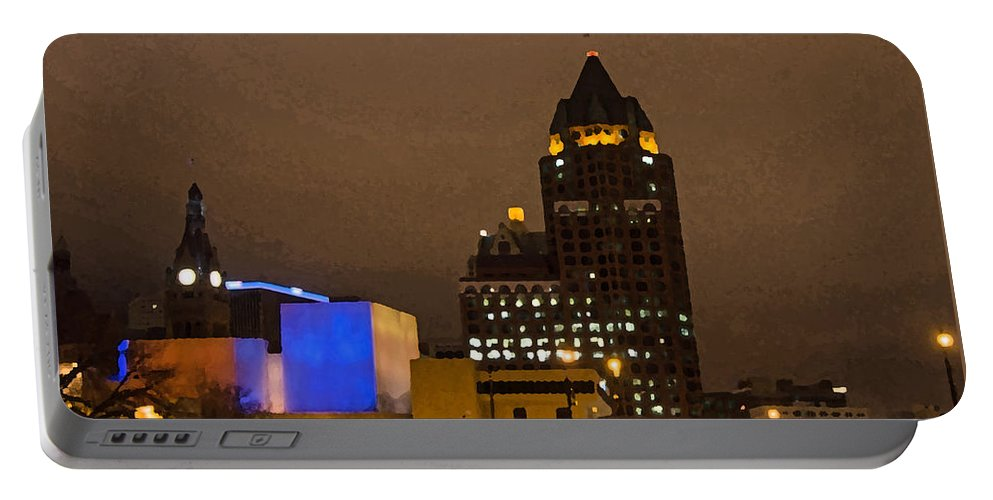 Skyline At The Milwaukee River Portable Battery Charger featuring the photograph Skyline At The Milwaukee River by Susan McMenamin