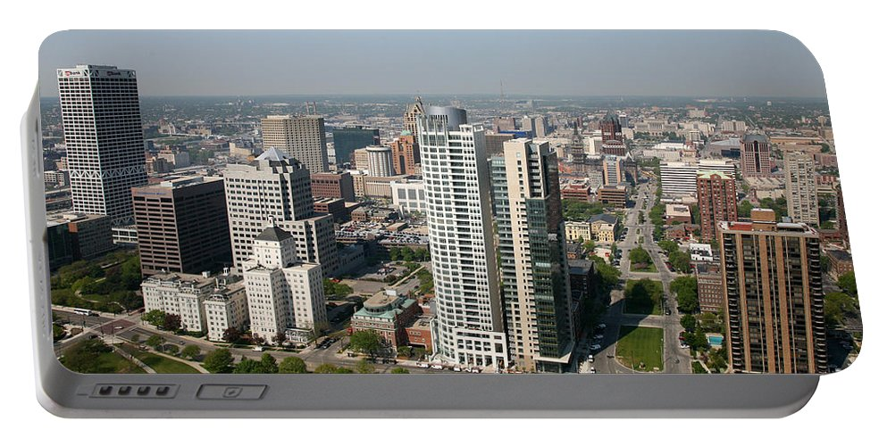 Gruber Law Offices Portable Battery Charger featuring the photograph Skyline Of Milwaukee Wisconsin by Bill Cobb