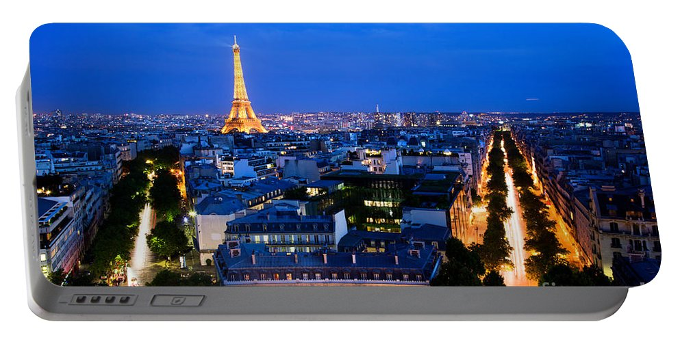 Paris Portable Battery Charger featuring the photograph Skyline Of Paris by Michal Bednarek