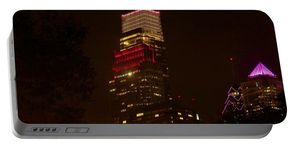 Philadelphia Portable Battery Charger featuring the photograph Skyscrapers Through The Trees by Ed Sweeney