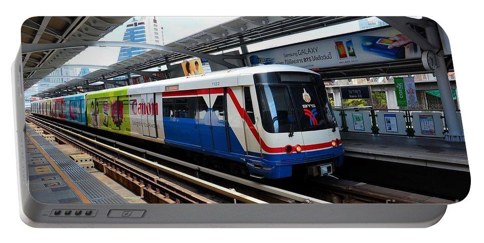 Bangkok Portable Battery Charger featuring the photograph Skytrain Carriage Metro Railway At Nana Station Bangkok Thailand by Imran Ahmed