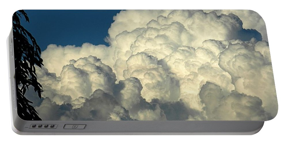 Cloud Portable Battery Charger featuring the photograph Skyward Sculpture by Sharon Woerner