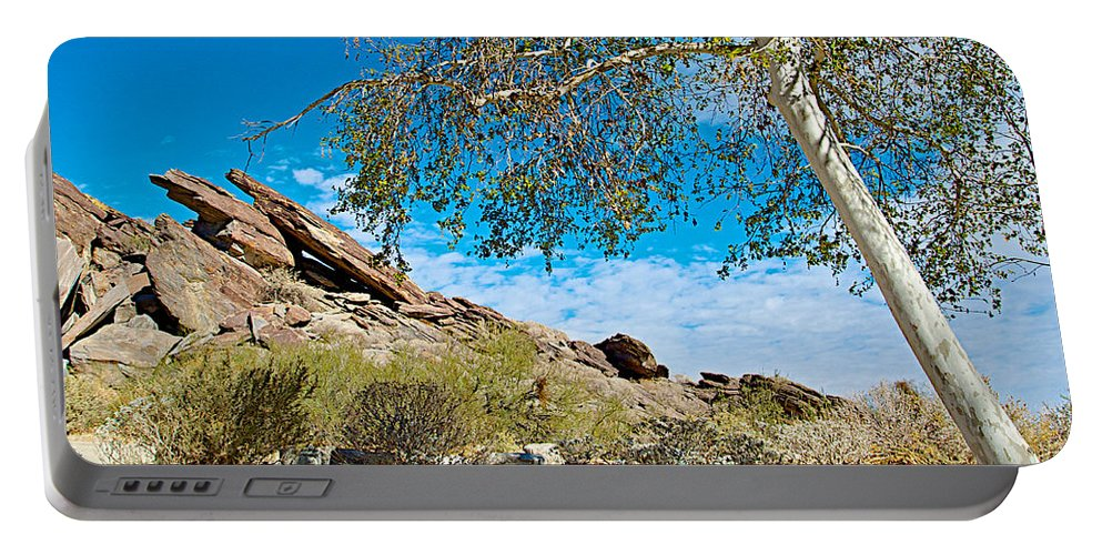 Slanted Rocks And Sycamore Tree In Andreas Canyon In Indian Canyons Portable Battery Charger featuring the photograph Slanted Rocks And Sycamore Tree In Andreas Canyon In Indian Canyons-ca by Ruth Hager
