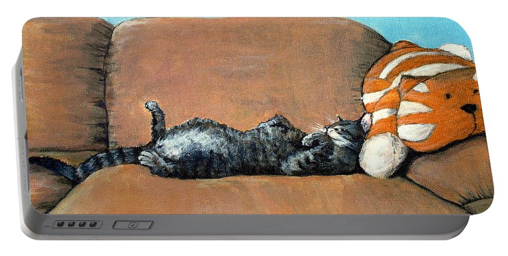 Calm Portable Battery Charger featuring the painting Sleeping Cat by Anastasiya Malakhova