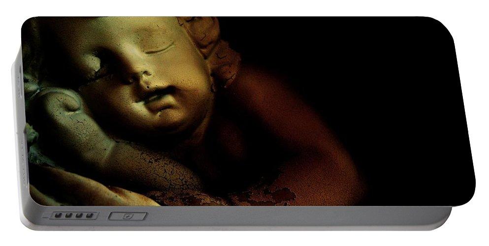 Sleeping Cherub Garden Stauary Portable Battery Charger featuring the photograph Sleeping Cherub #2 by Robert ONeil