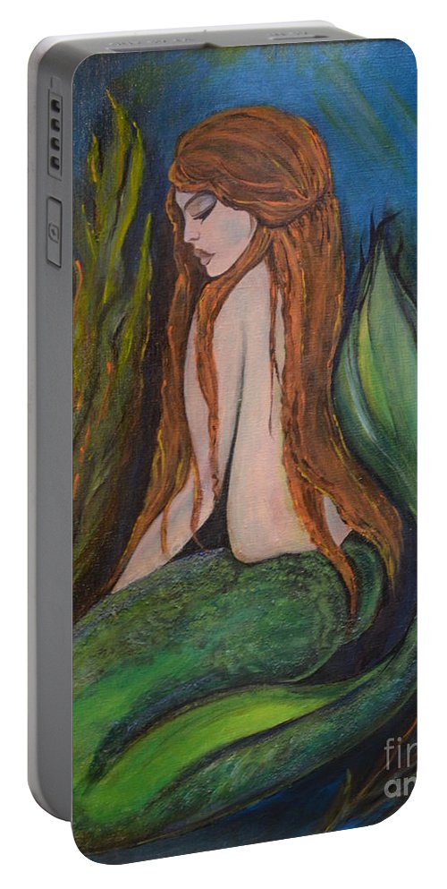 Acrylic Portable Battery Charger featuring the painting sleeping Mermaid by Valarie Pacheco