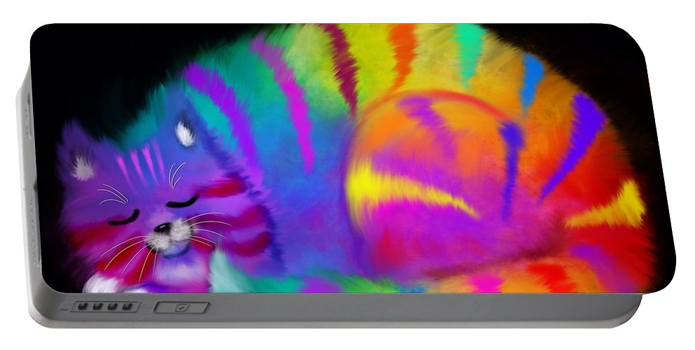 Cat Portable Battery Charger featuring the painting Sleepy Colorful Cat by Nick Gustafson
