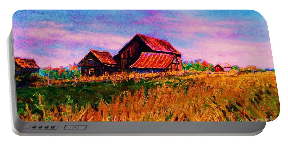 Rustic Barns Portable Battery Charger featuring the painting Slendor In The Grass by Carole Spandau