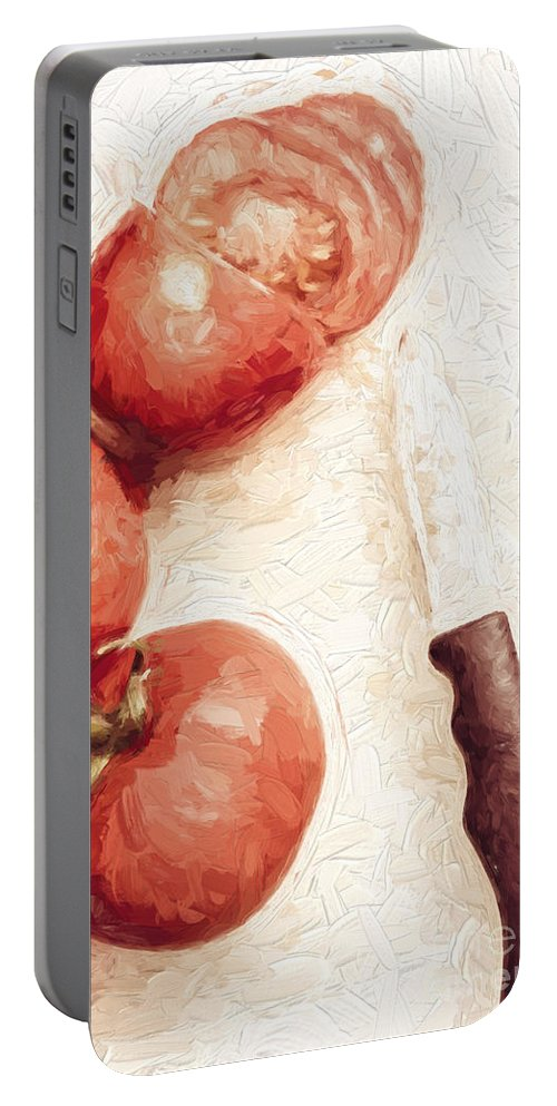 Knife Portable Battery Charger featuring the digital art Sliced Tomatoes. Vintage Cooking Artwork by Jorgo Photography - Wall Art Gallery