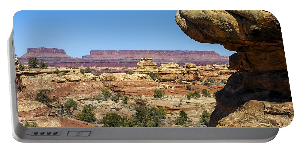 Slickrock Trail Needles District Canyonlands National Park Utah Trails Parks Canyon Canyons Mountain Mountains Rock Formation Formations Tree Trees Landscape Landscapes Desertscape Desertscapes Portable Battery Charger featuring the photograph Slickrock Canyon Trail View by Bob Phillips