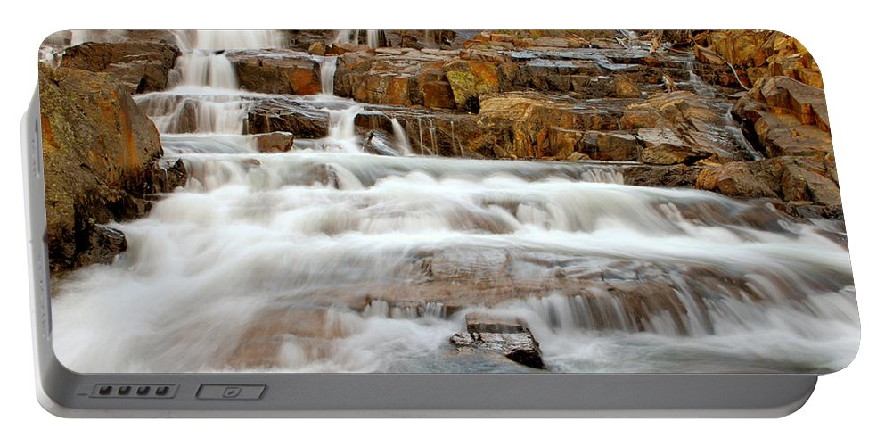 Water Fall Portable Battery Charger featuring the photograph Slippery When Wet by Donna Blackhall