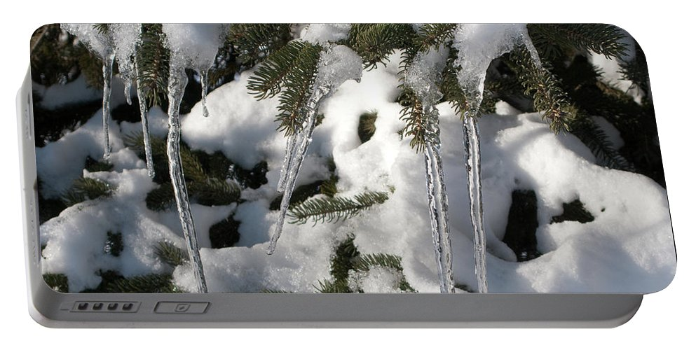 Winter Portable Battery Charger featuring the photograph Slow Snow Melt by Ann Horn