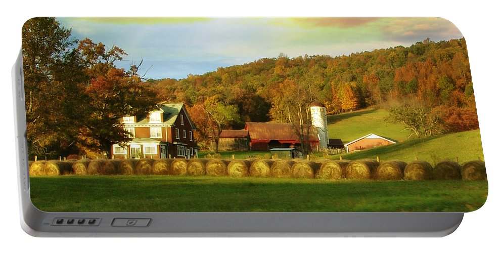 Fall Portable Battery Charger featuring the photograph Small Farm by Lj Lambert