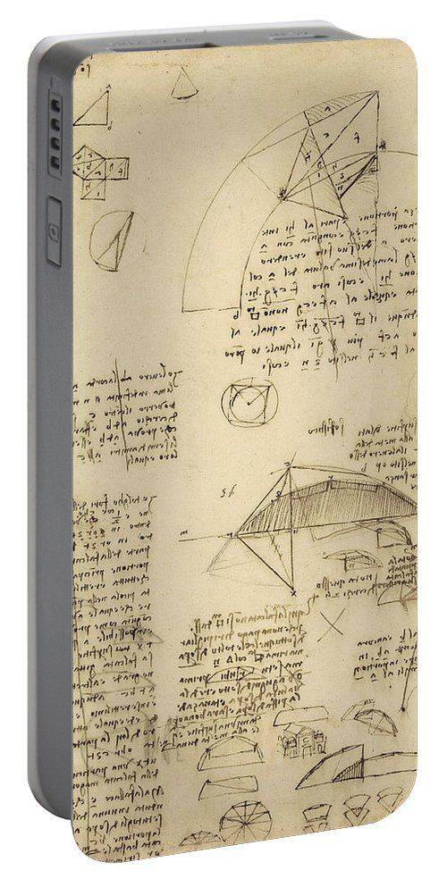 Leonardo Portable Battery Charger featuring the drawing Small Front View Of Church Squaring Of Curved Surfaces Triangle Elmain Or Falcata by Leonardo Da Vinci