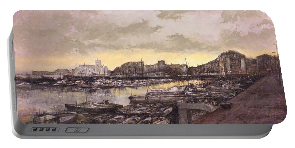 Small Port Portable Battery Charger featuring the painting Small-port Santander by Tomas Castano