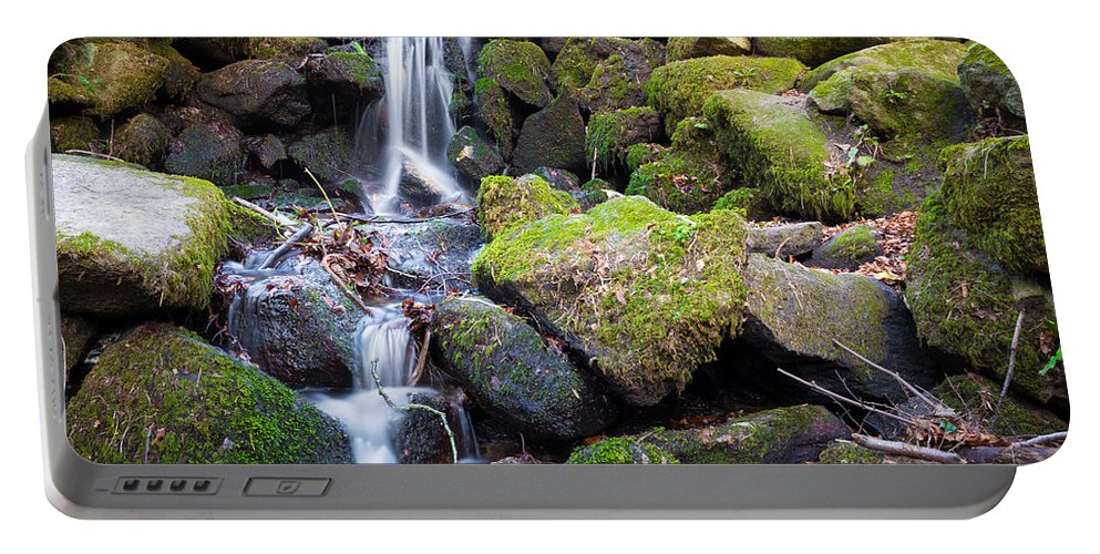 Dublin Portable Battery Charger featuring the photograph Small Waterfall In Marlay Park Dublin by Semmick Photo