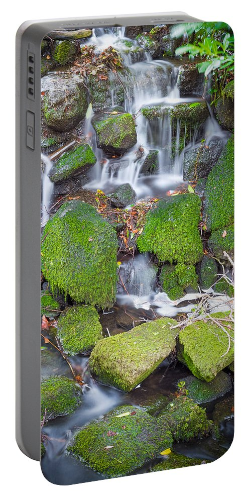 Dublin Portable Battery Charger featuring the photograph Small Waterfall In Marlay Park by Semmick Photo