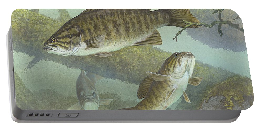 Smallmouth Bass Portable Battery Charger featuring the painting Smallmouth Bass by Mountain Dreams