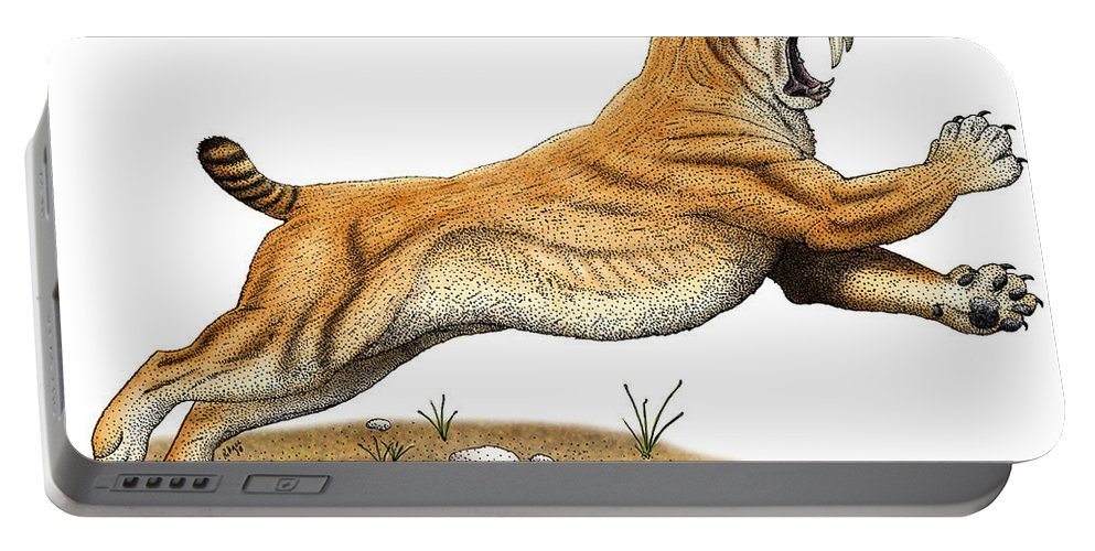 Saber-tooth Tiger Portable Battery Charger featuring the photograph Smilodon Saber-toothed Tiger by Roger Hall