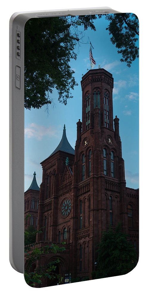 Smithsonian Portable Battery Charger featuring the photograph Smithsonian Castle Dawn by Steve Gadomski