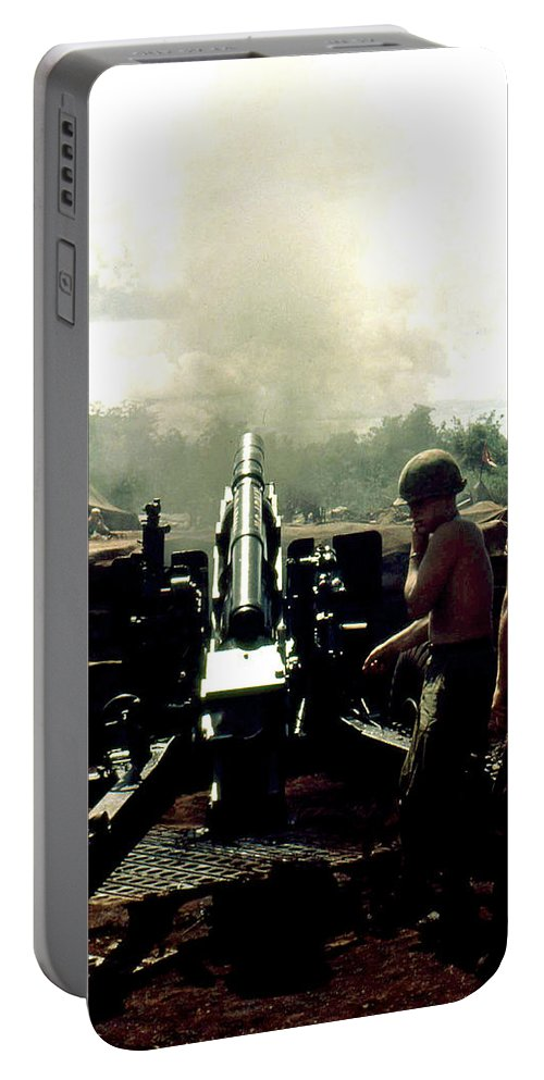 105 Mm Howitzer Portable Battery Charger featuring the photograph Smoke And Noise by Norman Johnson