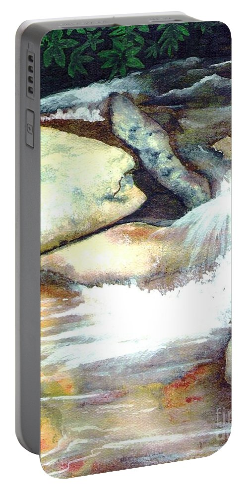Fine Art Portable Battery Charger featuring the painting Smoky Mountains Waterfall by Patricia Griffin Brett