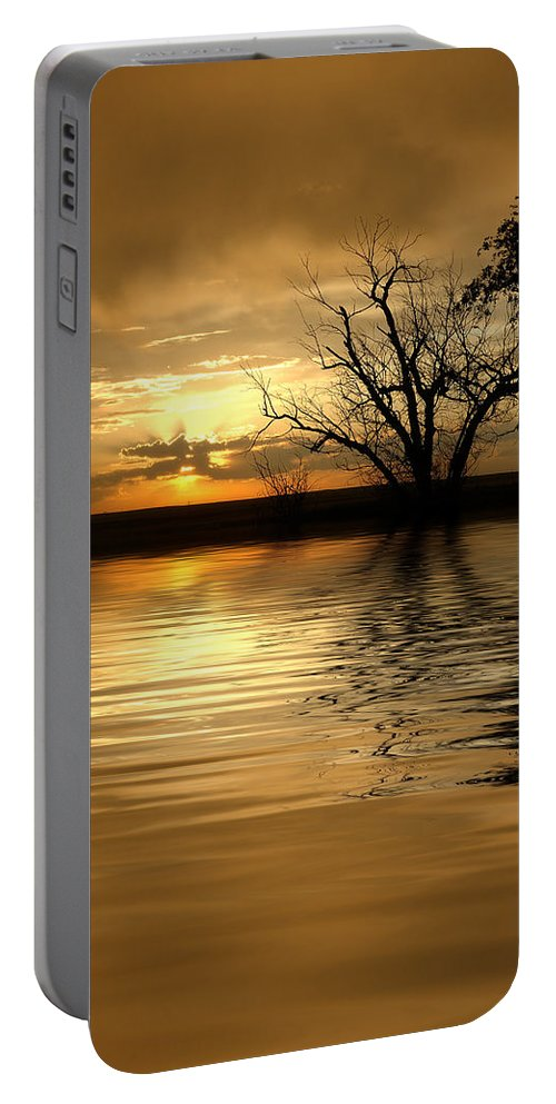 Sunset Portable Battery Charger featuring the photograph Smooth Yellow by Jerry McElroy