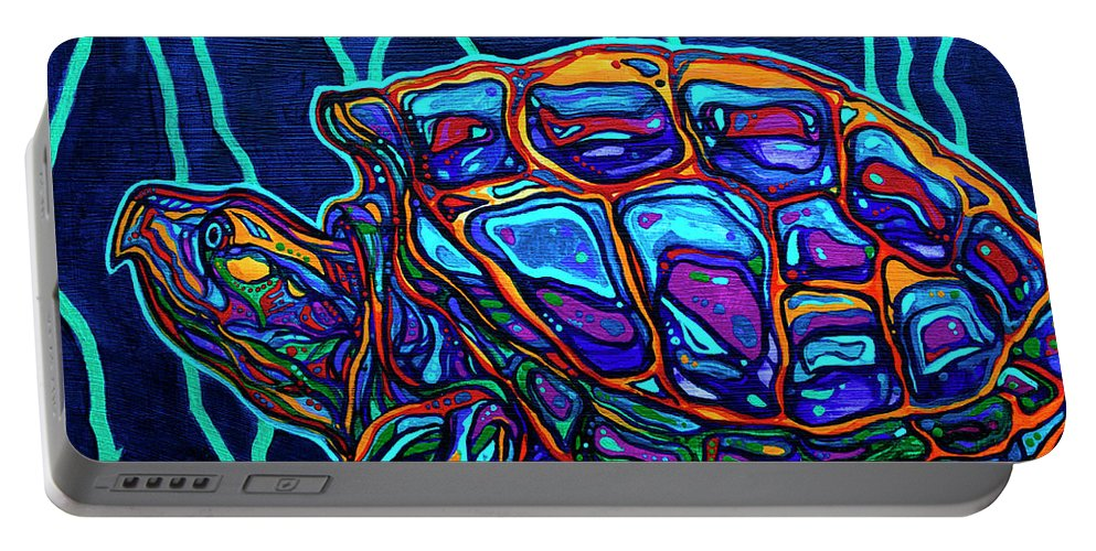 Snapping Turtle Portable Battery Charger featuring the painting Snapper by Derrick Higgins