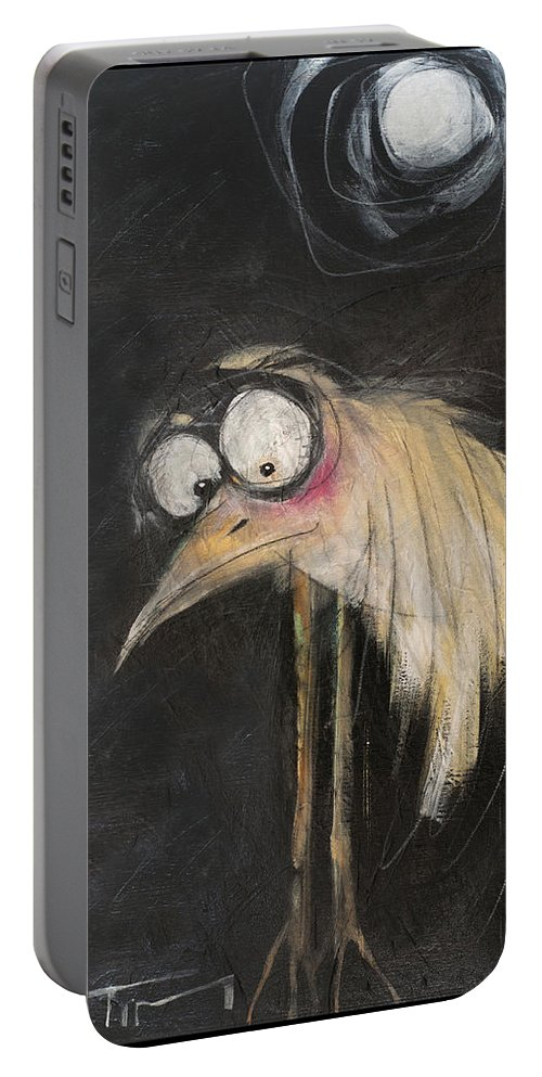 Bird Portable Battery Charger featuring the painting Snipe In The Moonlight by Tim Nyberg