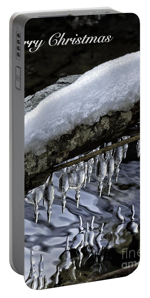 Snow Portable Battery Charger featuring the photograph Snow And Icicles Merry Christmas Card by Belinda Greb