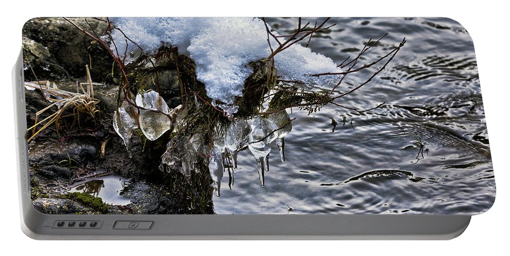 Snow Portable Battery Charger featuring the photograph Snow And Icicles No. 2 by Belinda Greb