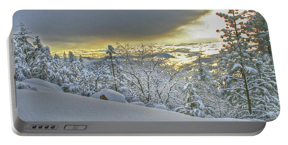 Snow Portable Battery Charger featuring the photograph Snow And The Sierra Highway 88 by SC Heffner