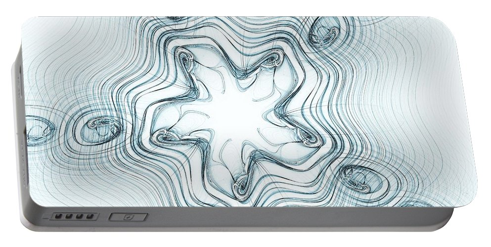 Abstract Portable Battery Charger featuring the digital art Snow Angel by Anastasiya Malakhova