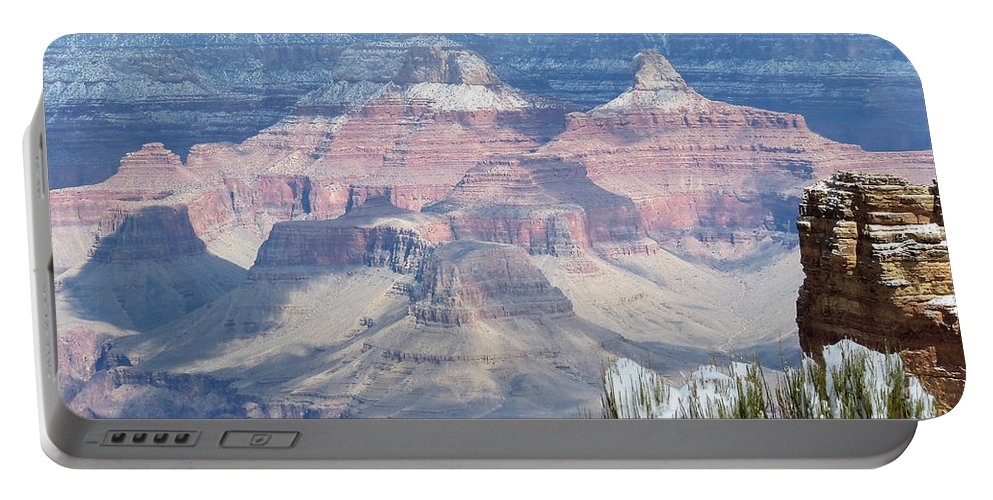 Grand Canyon Portable Battery Charger featuring the photograph Snow At The Grand Canyon by Laurel Powell