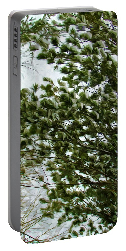 Background Portable Battery Charger featuring the painting Snow Covered Pine Trees by Jeelan Clark