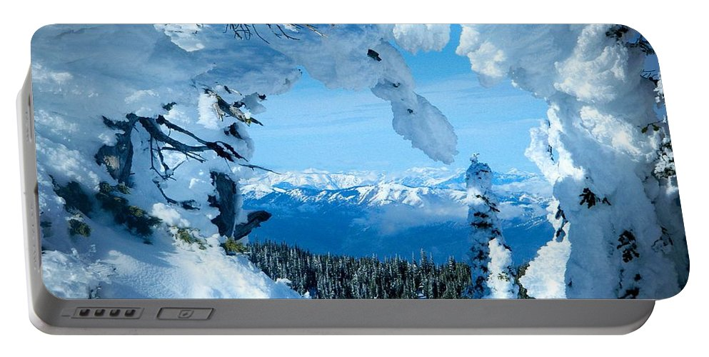 Mission Ridge Portable Battery Charger featuring the photograph Snow Heart by Jamie Johnson