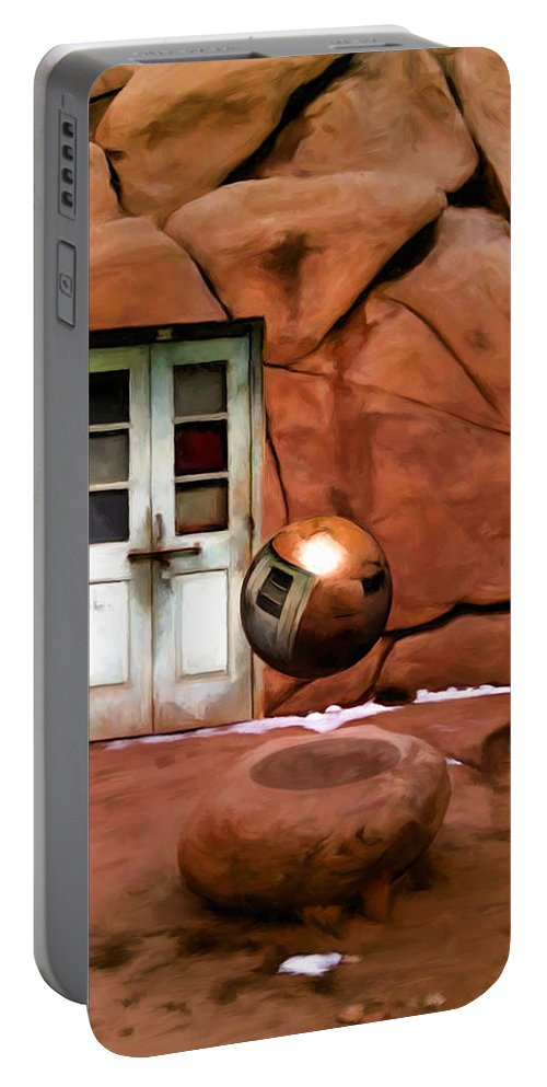 Joshua Tree Portable Battery Charger featuring the painting Snow In Joshua Tree by Snake Jagger