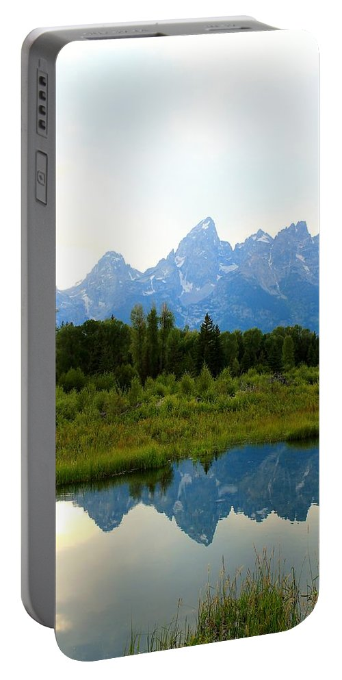 Grand Tetons Portable Battery Charger featuring the photograph Snow In The Mountains by Catie Canetti