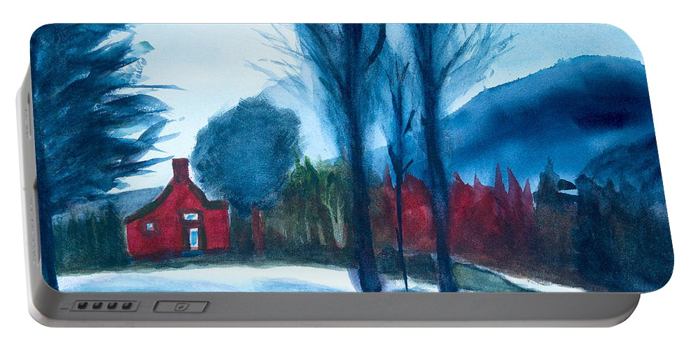 Vermont Watercolor Painting Portable Battery Charger featuring the painting Snow In Vermont by Frank Bright