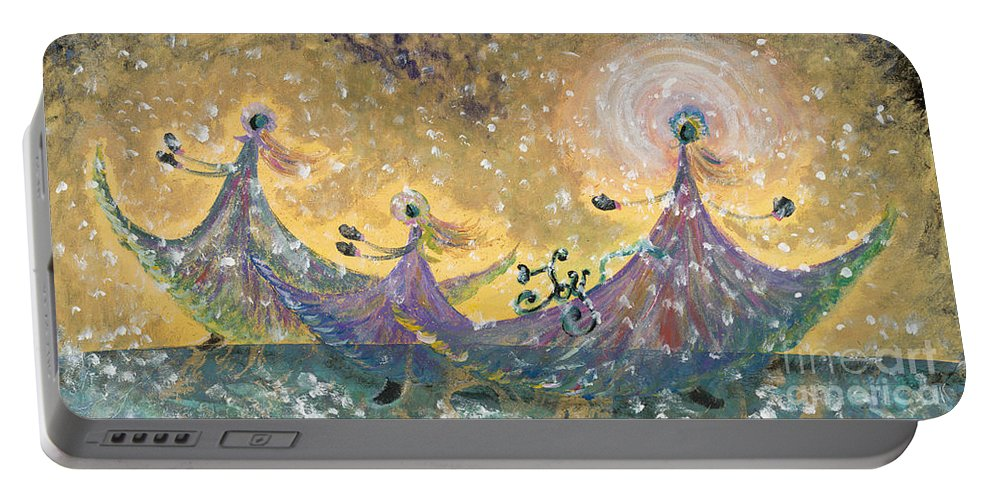 Joy Portable Battery Charger featuring the painting Snow Joy by Nadine Rippelmeyer