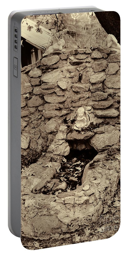 Fall Portable Battery Charger featuring the photograph Snow Line Fireplace by Tommy Anderson