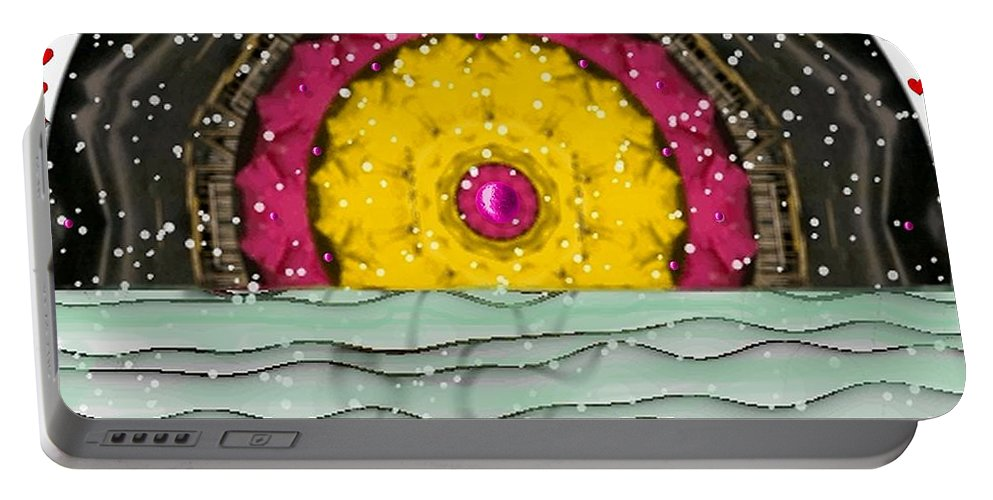 Landscape Portable Battery Charger featuring the mixed media Snow Love Pop Art by Pepita Selles