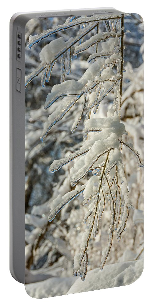Steve Harrington Portable Battery Charger featuring the photograph Snow On Ice by Steve Harrington