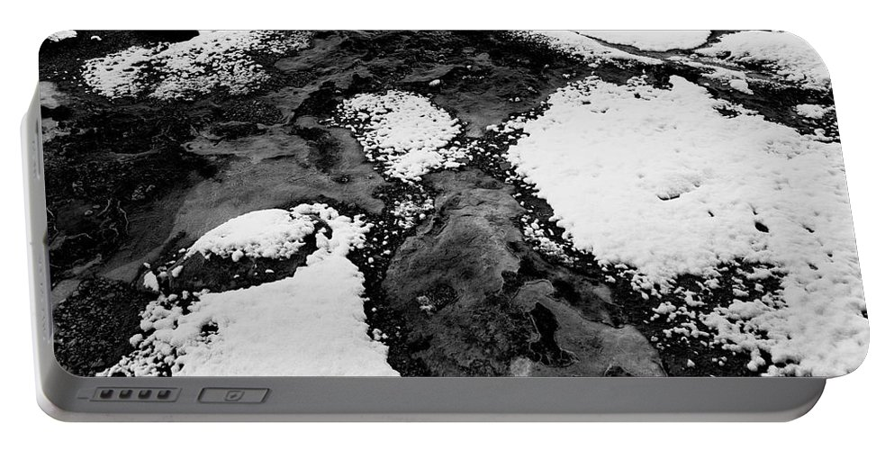Black And White Photo Portable Battery Charger featuring the digital art Snow On Rock Bw by Tim Richards