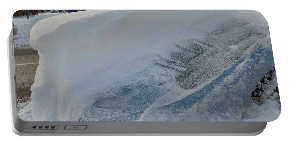 Car Portable Battery Charger featuring the photograph Snow On The Car by Susan Wyman