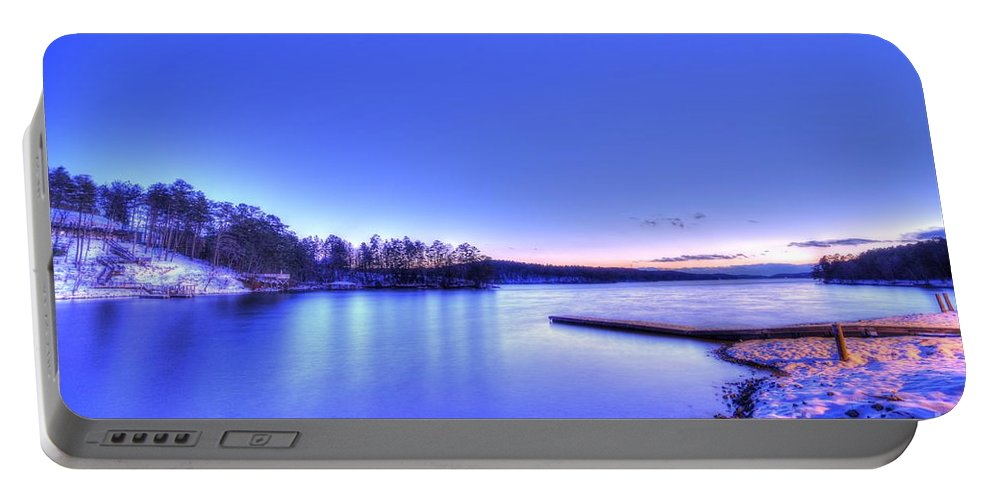 Snow On The Lake Tator Hole Granite Falls Portable Battery Charger featuring the photograph Snow On The Lake by Robert Loe