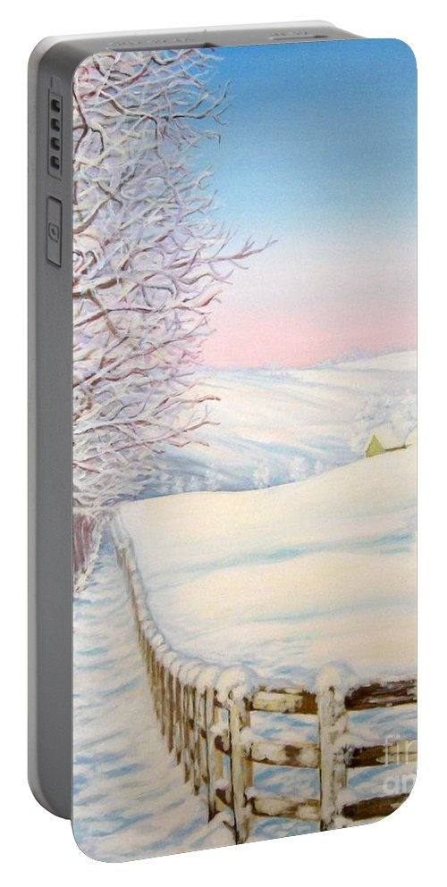 Winter Portable Battery Charger featuring the painting Snow Path by Inese Poga