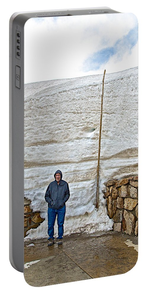 Snow Piles At Alpine Visitor's Center In Rocky Mountain Np Portable Battery Charger featuring the photograph Snow Piles At Alpine Visitor's Center In Rocky Mountain National Park-colorado by Ruth Hager