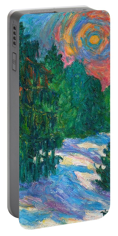 Kendall Kessler Portable Battery Charger featuring the painting Snow Pines by Kendall Kessler